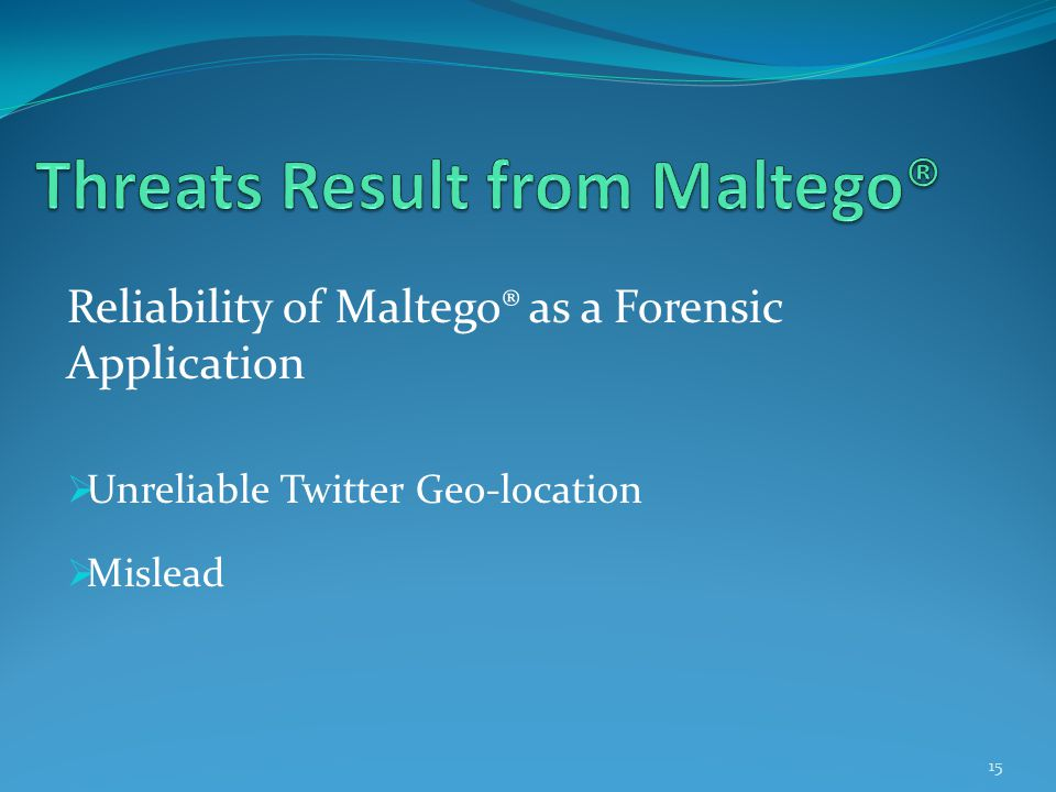 Reliability of Maltego® as a Forensic Application  Unreliable Twitter Geo-location  Mislead 15