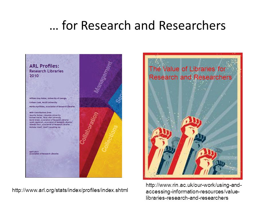 … for Research and Researchers http://www.arl.org/stats/index/profiles/index.shtml The Value of Libraries for Research and Researchers http://www.rin.