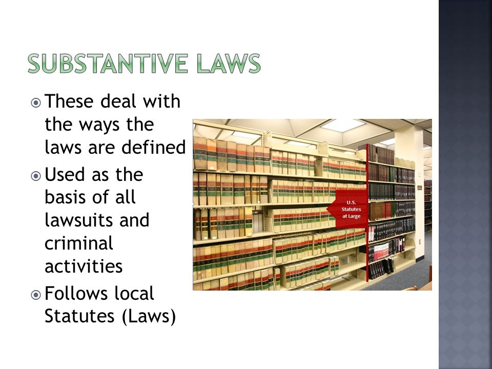  These deal with the ways the laws are defined  Used as the basis of all lawsuits and criminal activities  Follows local Statutes (Laws)