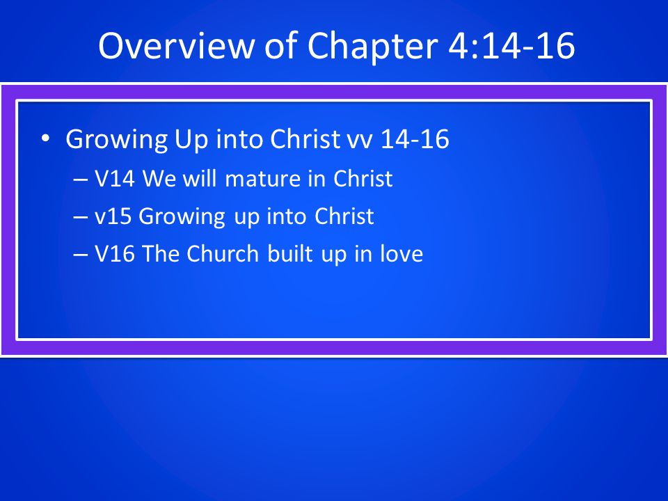Overview of Chapter 4:14-16 Growing Up into Christ vv 14-16 – V14 We will mature in Christ – v15 Growing up into Christ – V16 The Church built up in love
