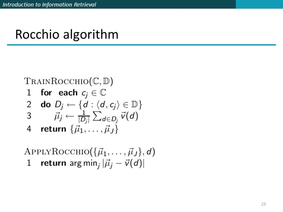 Introduction to Information Retrieval 29 Rocchio algorithm