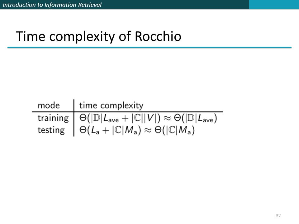 Introduction to Information Retrieval 32 Time complexity of Rocchio