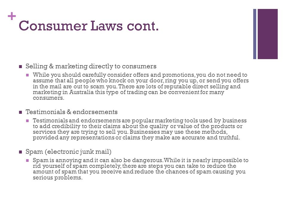 + Consumer Laws cont.