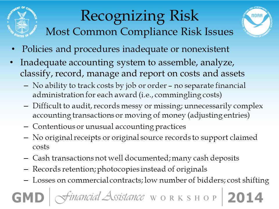 Why You Should Care Consequences of Noncompliance Administrative sanctions Reduction in payments; recovery actions & penalties Termination or Restruct