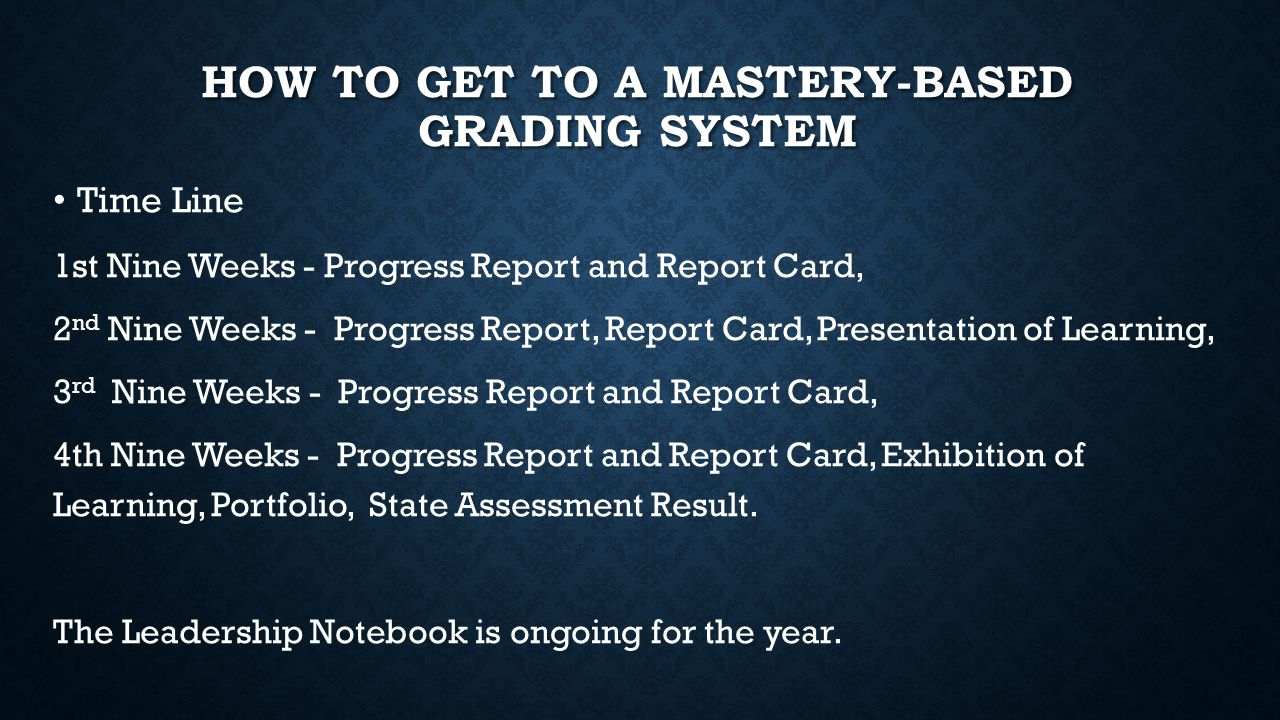 HOW TO GET TO A MASTERY-BASED GRADING SYSTEM Time Line 1st Nine Weeks - Progress Report and Report Card, 2 nd Nine Weeks - Progress Report, Report Card, Presentation of Learning, 3 rd Nine Weeks - Progress Report and Report Card, 4th Nine Weeks - Progress Report and Report Card, Exhibition of Learning, Portfolio, State Assessment Result.