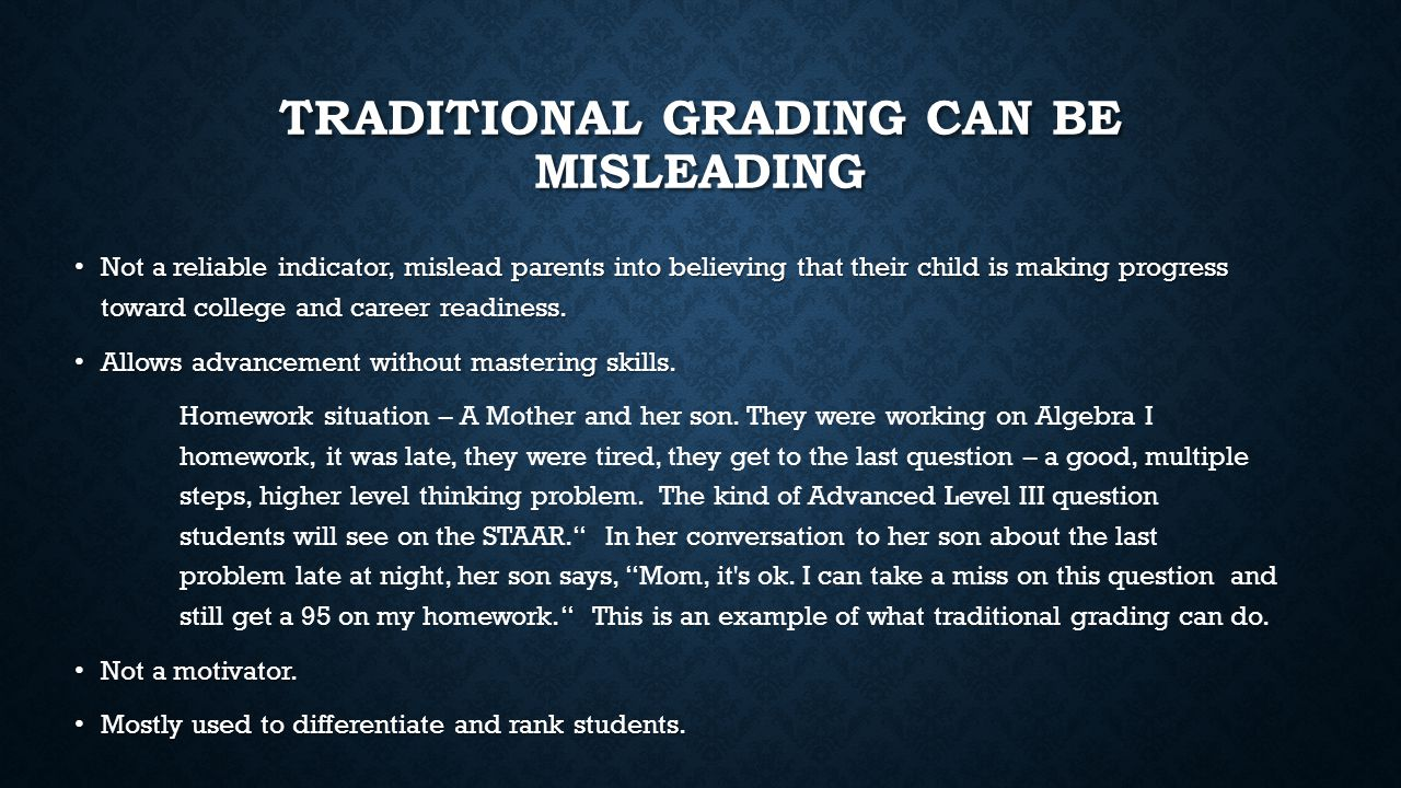 HOW TO GET TO A MASTERY-BASED GRADING SYSTEM How do students know their level of performance.