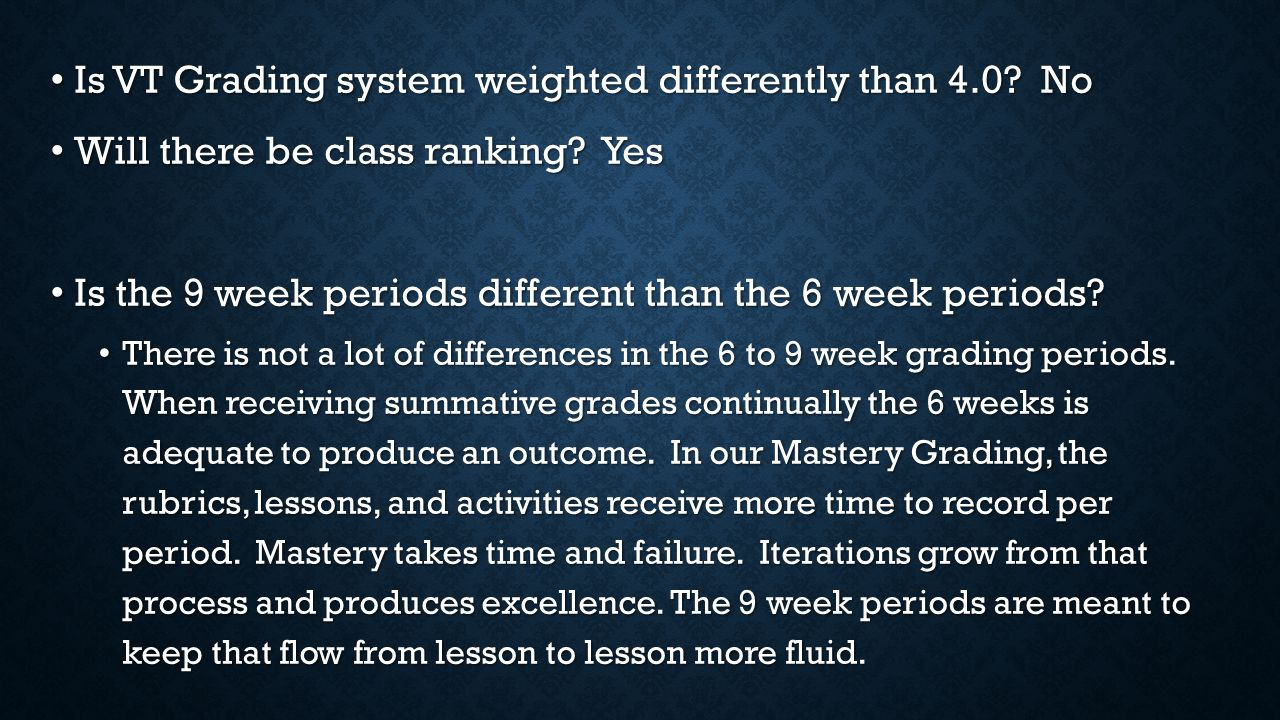 Is VT Grading system weighted differently than 4.0.