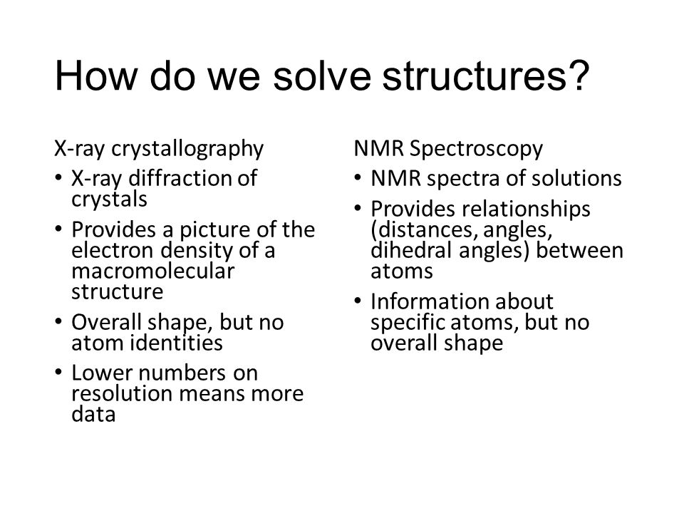 How do we solve structures? X-ray crystallography X-ray diffraction of crystals Provides a picture of the electron density of a macromolecular structu