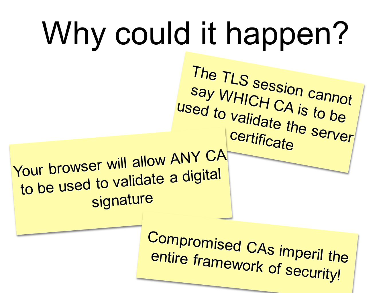 Why could it happen? The TLS session cannot say WHICH CA is to be used to validate the server certificate Your browser will allow ANY CA to be used to