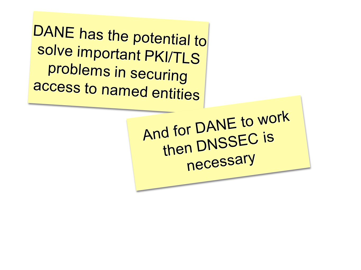 DANE has the potential to solve important PKI/TLS problems in securing access to named entities And for DANE to work then DNSSEC is necessary