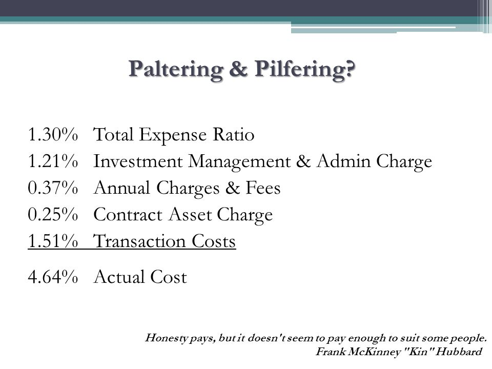 Paltering & Pilfering? 1.30% Total Expense Ratio 1.21% Investment Management & Admin Charge 0.37% Annual Charges & Fees 0.25% Contract Asset Charge 1.