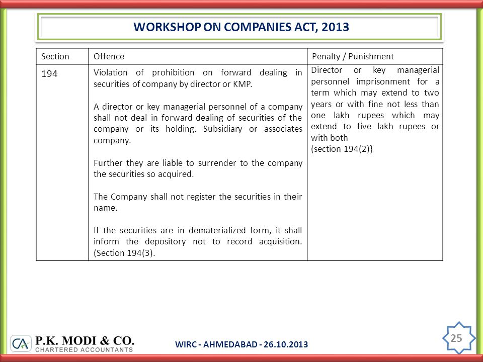 WORKSHOP ON COMPANIES ACT, 2013 WIRC - AHMEDABAD - 26.10.2013 25 SectionOffencePenalty / Punishment 194 Violation of prohibition on forward dealing in securities of company by director or KMP.
