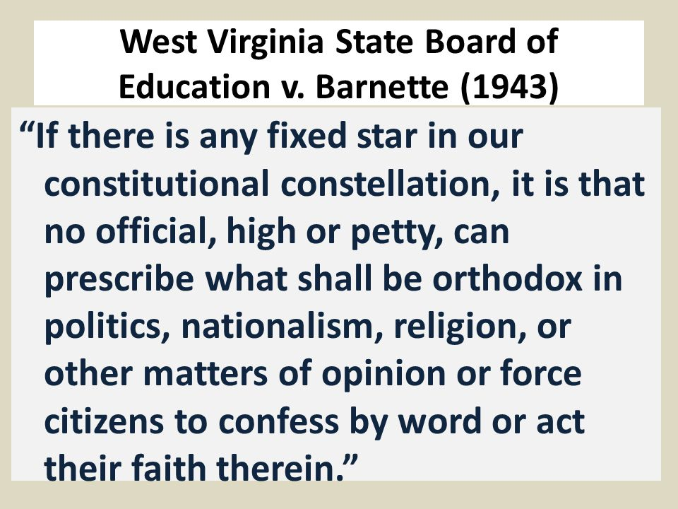 West Virginia State Board of Education v.