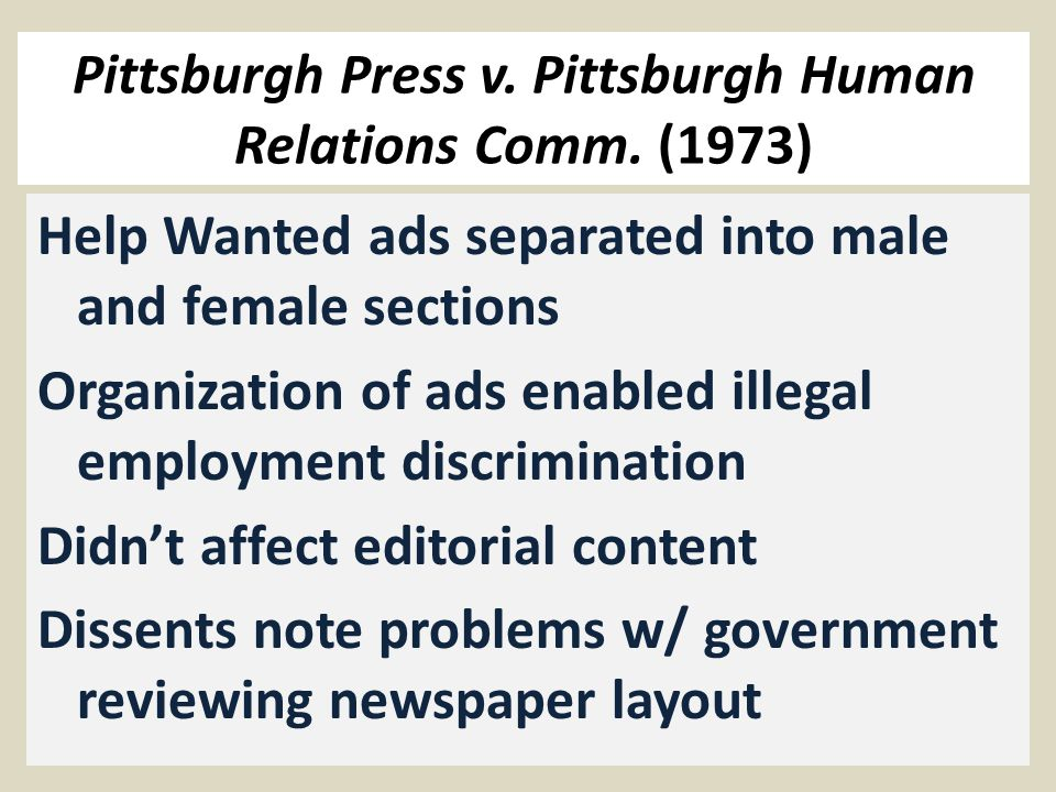 Pittsburgh Press v. Pittsburgh Human Relations Comm.
