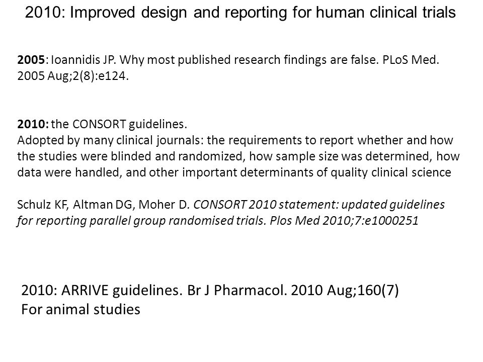2005: Ioannidis JP.Why most published research findings are false.