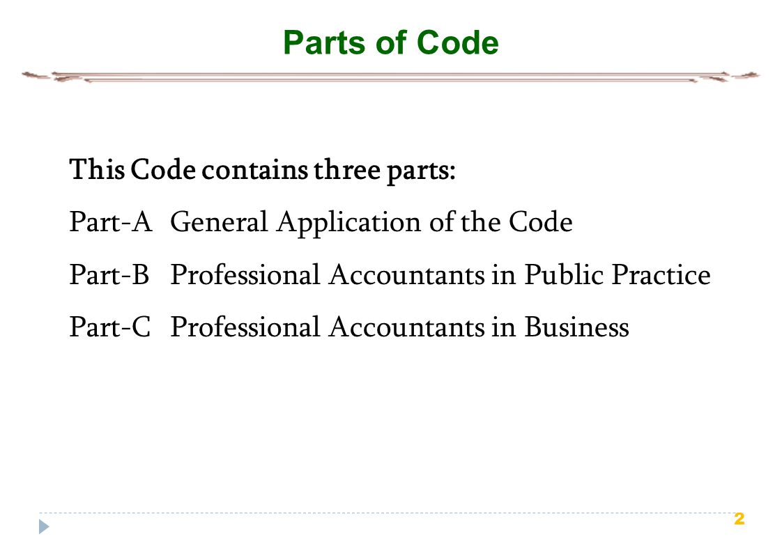 2 Parts of Code This Code contains three parts: Part-A General Application of the Code Part-B Professional Accountants in Public Practice Part-C Profe