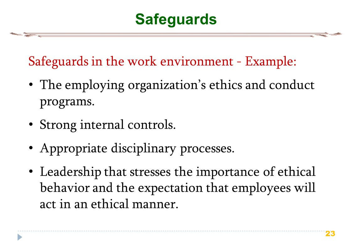 23 Safeguards Safeguards in the work environment - Example: The employing organization's ethics and conduct programs. Strong internal controls. Approp