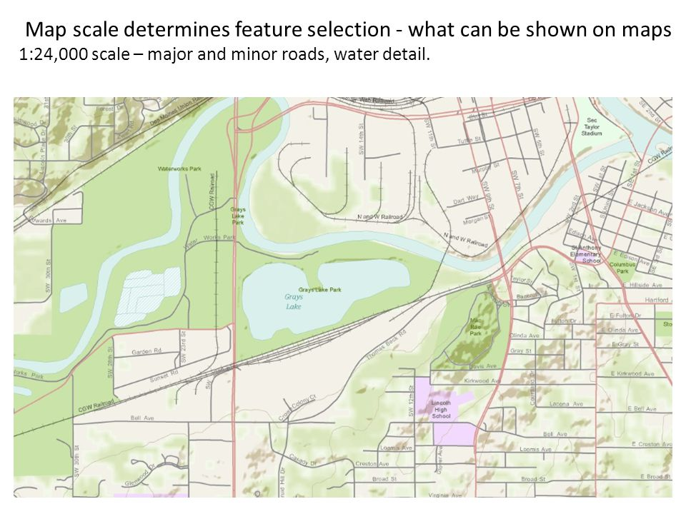 8 Map scale determines feature selection - what can be shown on maps 1:100,000 scale – highways, some major roads Area shown on previous slide