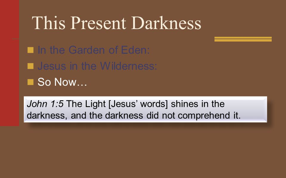 This Present Darkness In the Garden of Eden: Jesus in the Wilderness: So Now… John 1:5 The Light [Jesus' words] shines in the darkness, and the darkness did not comprehend it.
