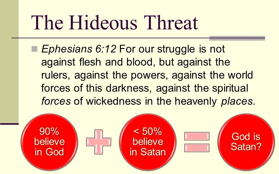 The Hideous Threat Ephesians 6:12 For our struggle is not against flesh and blood, but against the rulers, against the powers, against the world force
