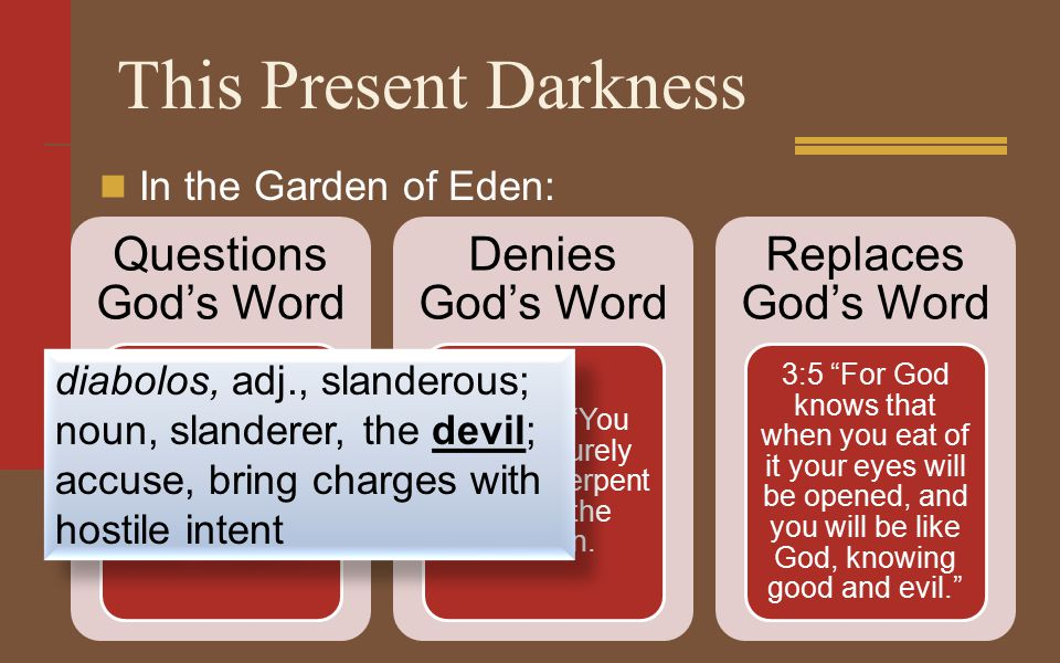 This Present Darkness In the Garden of Eden: Questions God's Word Did God really say, 'You must not eat from any tree in the garden'? Denies God's Word Gen 3:4 You will not surely die, the serpent said to the woman.