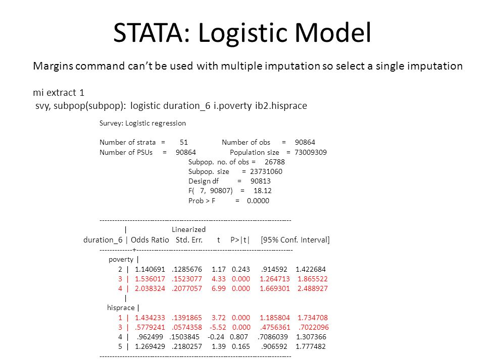 STATA: Logistic Model Margins command can't be used with multiple imputation so select a single imputation mi extract 1 svy, subpop(subpop): logistic duration_6 i.poverty ib2.hisprace Survey: Logistic regression Number of strata = 51 Number of obs = 90864 Number of PSUs = 90864 Population size = 73009309 Subpop.