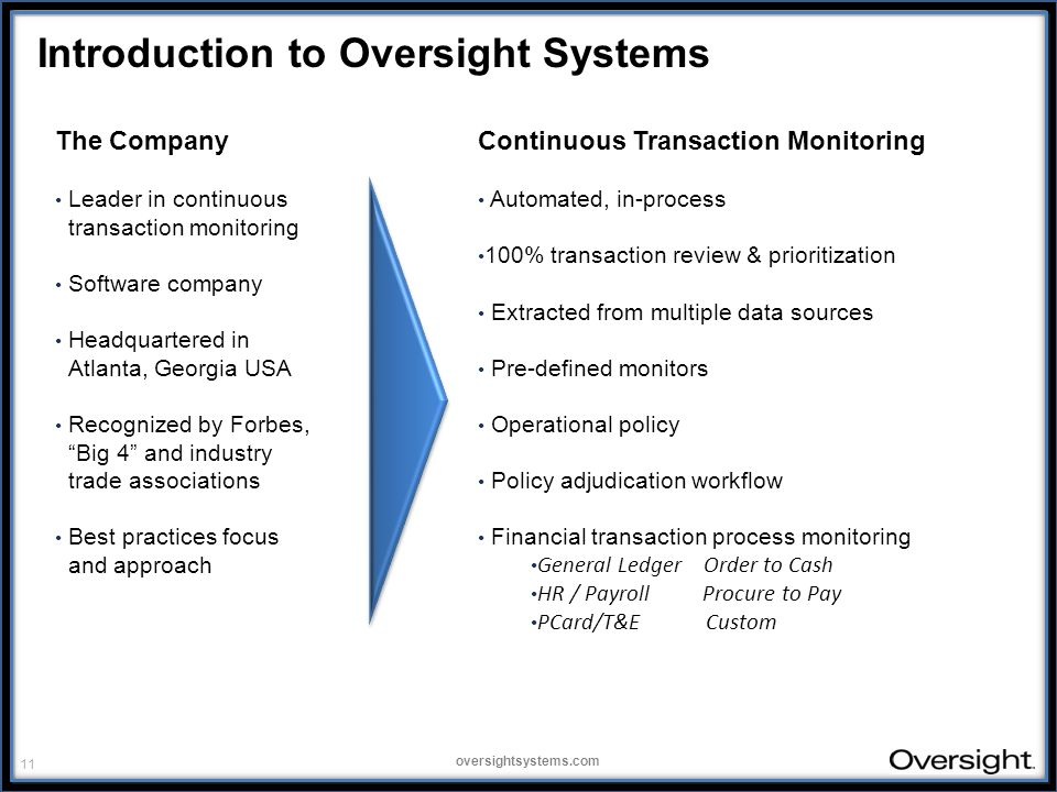 11 oversightsystems.com Introduction to Oversight Systems The Company Leader in continuous transaction monitoring Software company Headquartered in Atlanta, Georgia USA Recognized by Forbes, Big 4 and industry trade associations Best practices focus and approach Continuous Transaction Monitoring Automated, in-process 100% transaction review & prioritization Extracted from multiple data sources Pre-defined monitors Operational policy Policy adjudication workflow Financial transaction process monitoring General Ledger Order to Cash HR / Payroll Procure to Pay PCard/T&E Custom