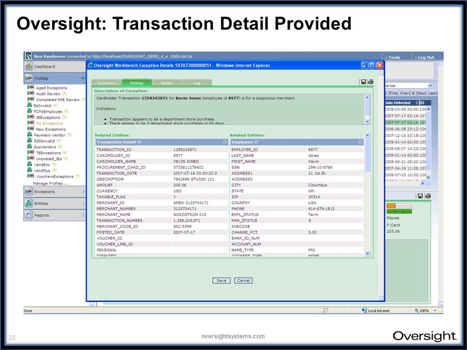 28 oversightsystems.com Oversight: Transaction Detail Provided
