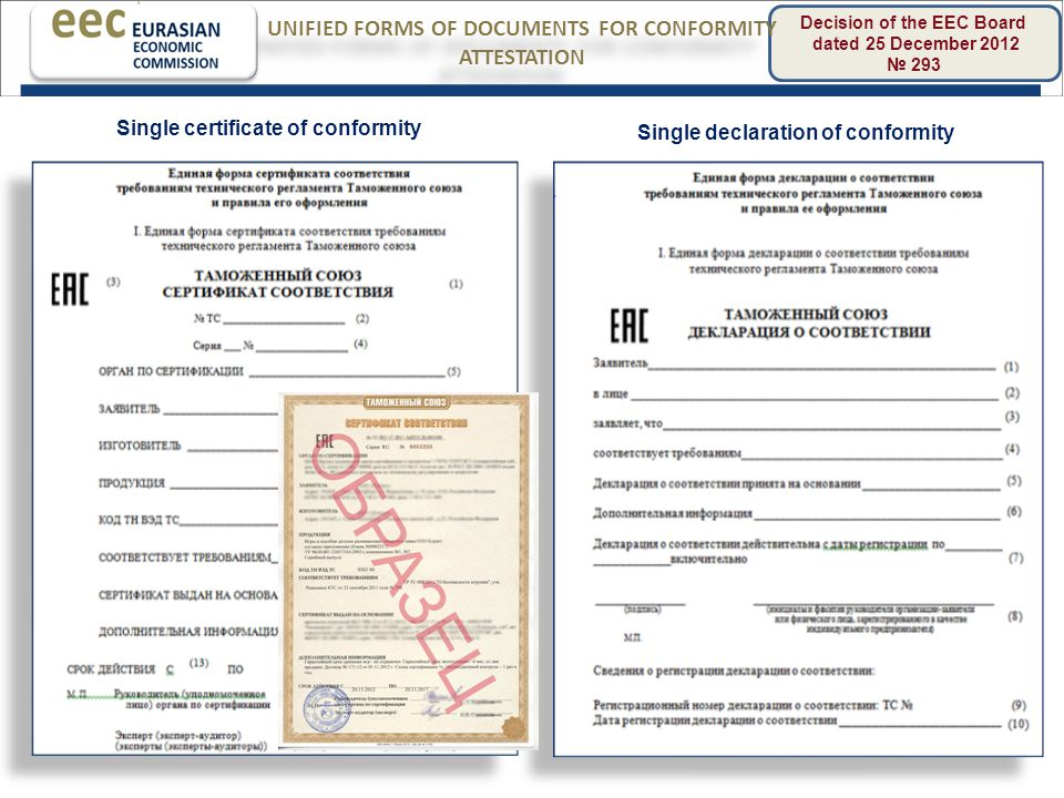 11 Decision of the EEC Board dated 25 December 2012 № 293 UNIFIED FORMS OF DOCUMENTS FOR CONFORMITY ATTESTATION Single certificate of conformity Single declaration of conformity
