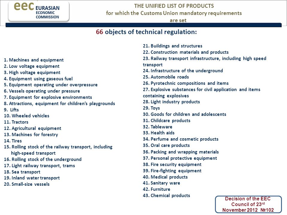 THE UNIFIED LIST OF PRODUCTS for which the Customs Union mandatory requirements are set 66 objects of technical regulation: Decision of the EEC Council of 23 rd November 2012 №102 1.