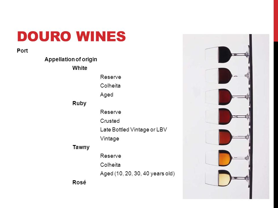 DOURO WINES Port Appellation of origin White Reserve Colheita Aged Ruby Reserve Crusted Late Bottled Vintage or LBV Vintage Tawny Reserve Colheita Aged (10, 20, 30, 40 years old) Rosé