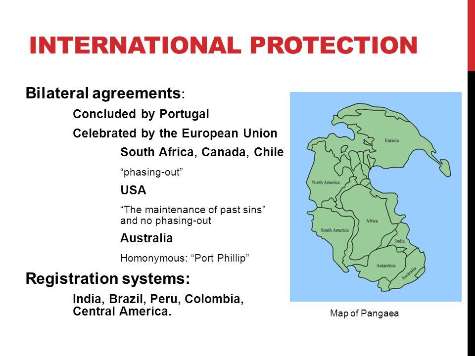 INTERNATIONAL PROTECTION Bilateral agreements : Concluded by Portugal Celebrated by the European Union South Africa, Canada, Chile phasing-out USA The maintenance of past sins and no phasing-out Australia Homonymous: Port Phillip Registration systems: India, Brazil, Peru, Colombia, Central America.