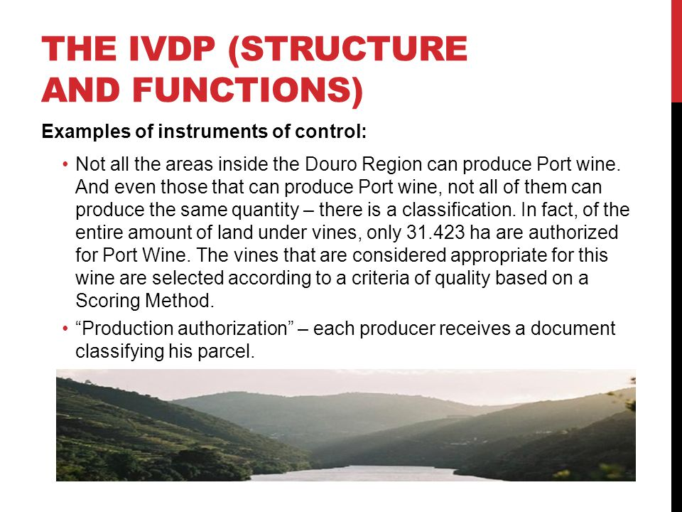 THE IVDP (STRUCTURE AND FUNCTIONS) Examples of instruments of control: Not all the areas inside the Douro Region can produce Port wine.