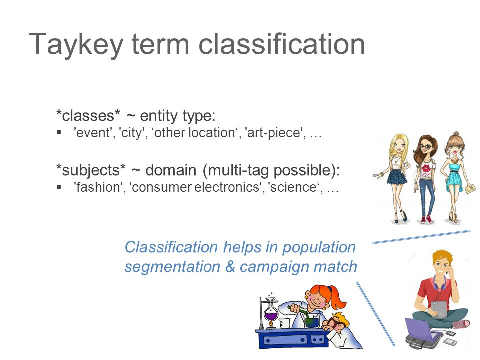 Taykey term classification *classes* ~ entity type:  event , city , 'other location', art-piece , … *subjects* ~ domain (multi-tag possible):  fashion , consumer electronics , science', … Classification helps in population segmentation & campaign match
