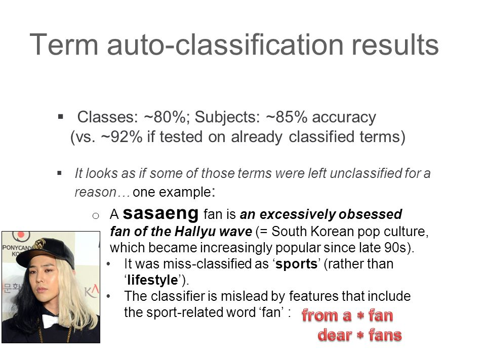 Term auto-classification results  Classes: ~80%; Subjects: ~85% accuracy (vs.