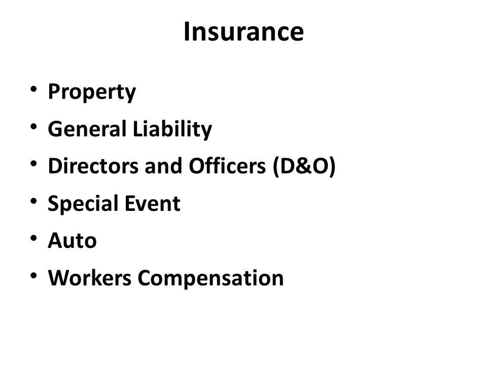 Property General Liability Directors and Officers (D&O) Special Event Auto Workers Compensation