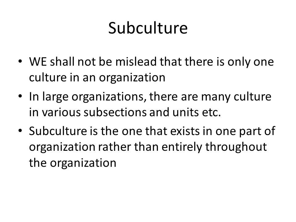 Subculture WE shall not be mislead that there is only one culture in an organization In large organizations, there are many culture in various subsections and units etc.