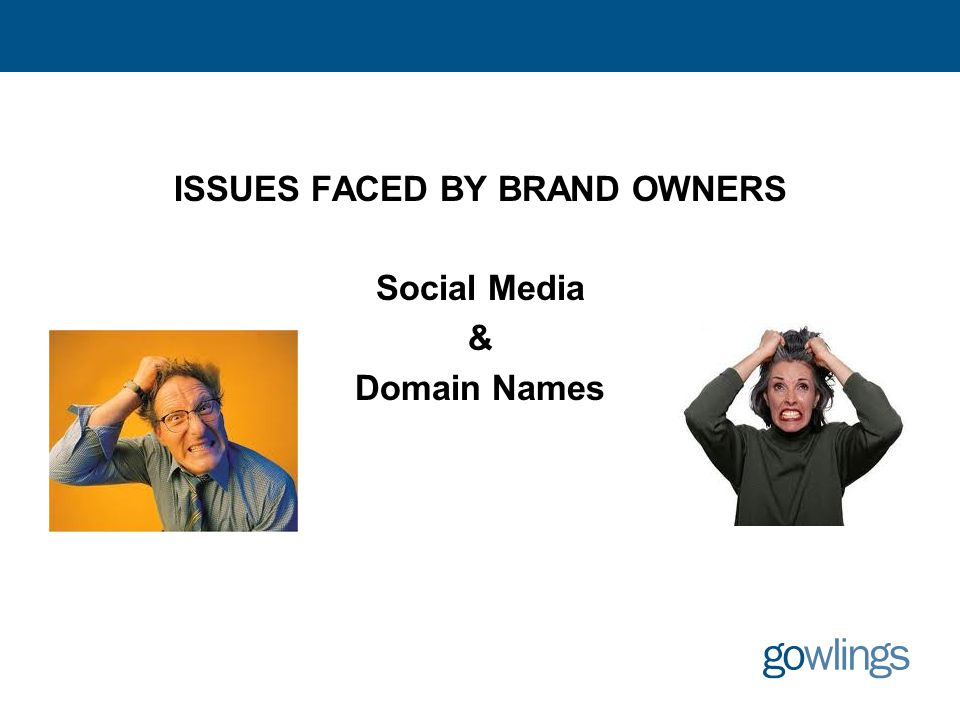 ISSUES FACED BY BRAND OWNERS Social Media & Domain Names