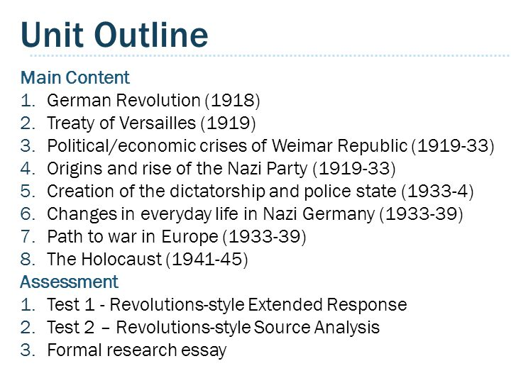 Unit Outline Main Content 1.German Revolution (1918) 2.Treaty of Versailles (1919) 3.Political/economic crises of Weimar Republic (1919-33) 4.Origins and rise of the Nazi Party (1919-33) 5.Creation of the dictatorship and police state (1933-4) 6.Changes in everyday life in Nazi Germany (1933-39) 7.Path to war in Europe (1933-39) 8.The Holocaust (1941-45) Assessment 1.Test 1 - Revolutions-style Extended Response 2.Test 2 – Revolutions-style Source Analysis 3.Formal research essay