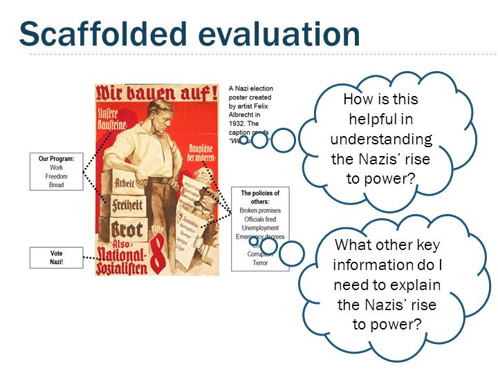Scaffolded evaluation How is this helpful in understanding the Nazis' rise to power.