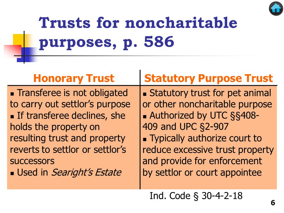 Transferee is not obligated to carry out settlor's purpose If transferee declines, she holds the property on resulting trust and property reverts to settlor or settlor's successors Used in Searight's Estate Statutory trust for pet animal or other noncharitable purpose Authorized by UTC §§408- 409 and UPC §2-907 Typically authorize court to reduce excessive trust property and provide for enforcement by settlor or court appointee Trusts for noncharitable purposes, p.