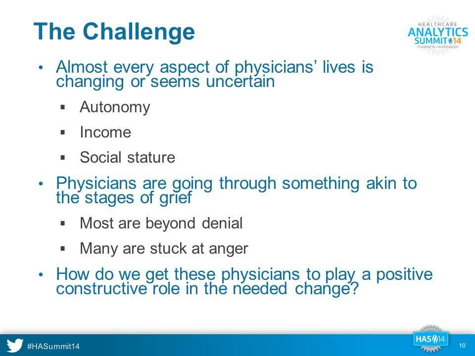 The Challenge Almost every aspect of physicians' lives is changing or seems uncertain  Autonomy  Income  Social stature Physicians are going through something akin to the stages of grief  Most are beyond denial  Many are stuck at anger How do we get these physicians to play a positive constructive role in the needed change.