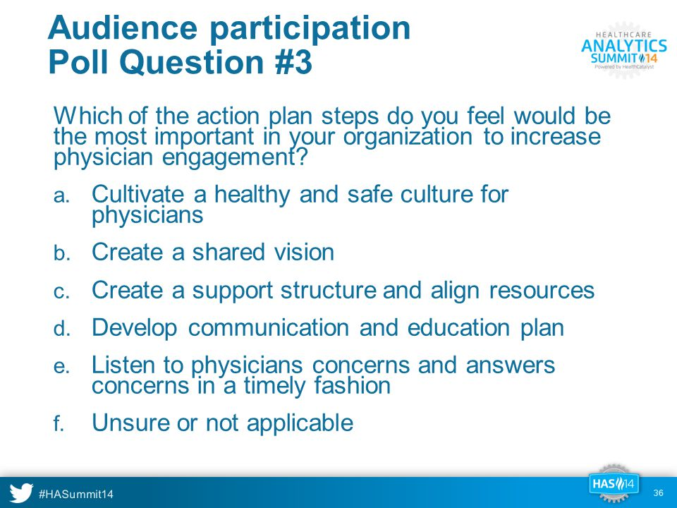 #HASummit14 Audience participation Poll Question #3 Which of the action plan steps do you feel would be the most important in your organization to increase physician engagement.