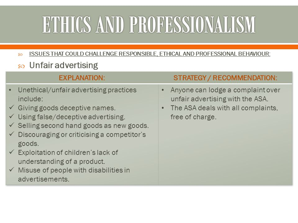  ISSUES THAT COULD CHALLENGE RESPONSIBLE, ETHICAL AND PROFESSIONAL BEHAVIOUR:  Unfair advertising