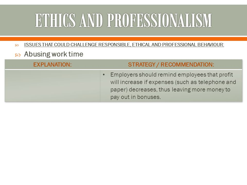  ISSUES THAT COULD CHALLENGE RESPONSIBLE, ETHICAL AND PROFESSIONAL BEHAVIOUR:  Abusing work time