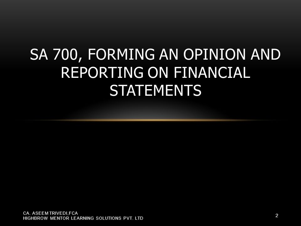 Reporting on > 1 set of FS If auditor is engaged to issue a report under Indian GAAP as well as under IFRS, he may use OMP in each report to inform users that he has also reported under another framework Restriction on distribution or use of report If special purpose FS are prepared in accordance with a general purpose framework because such a framework meets users needs, auditor may use OMP to say that his report is intended solely for the intended users and should not be distributed/ used by others Examples of circumstances necessitating OMP CA.