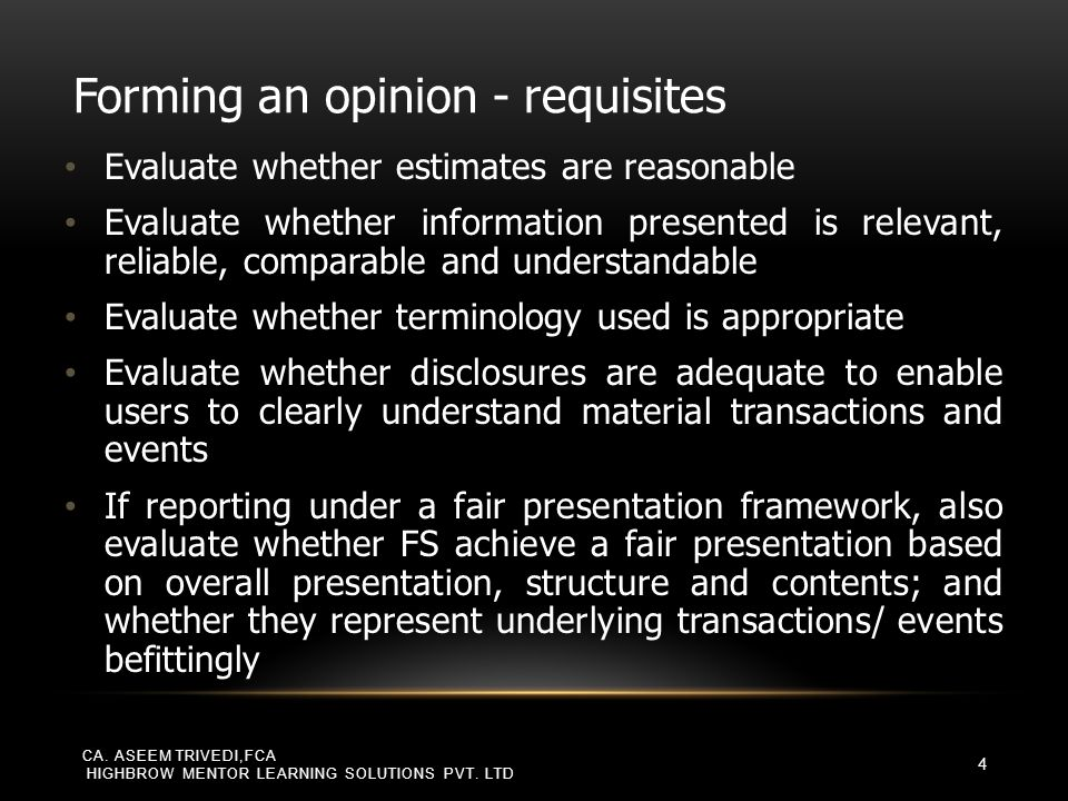 SUMMARY OF MODIFICATION OF OPINION Nature of matter giving rise to the modification Auditor's judgment about the pervasiveness of the effects or possible effects on FS Material but not pervasive Material and pervasive Financial statements are materially misstated Qualified opinionAdverse opinion Inability to obtain sufficient appropriate audit evidence Qualified opinionDisclaimer of opinion CA.