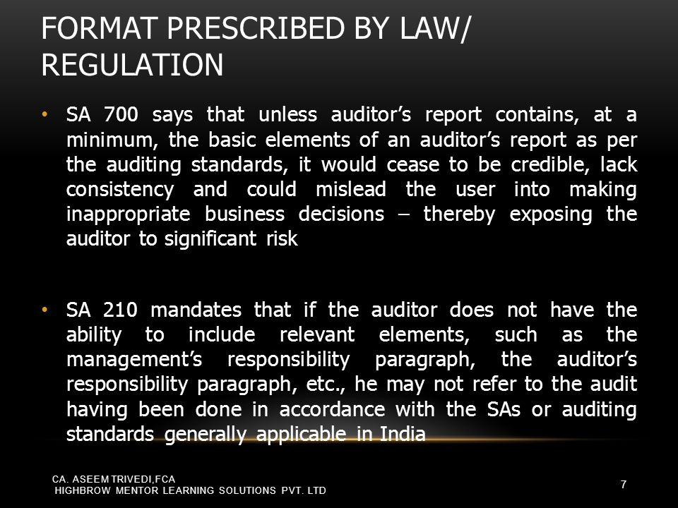 SA 705, MODIFICATIONS TO THE OPINION IN THE INDEPENDENT AUDITOR'S REPORT CA.