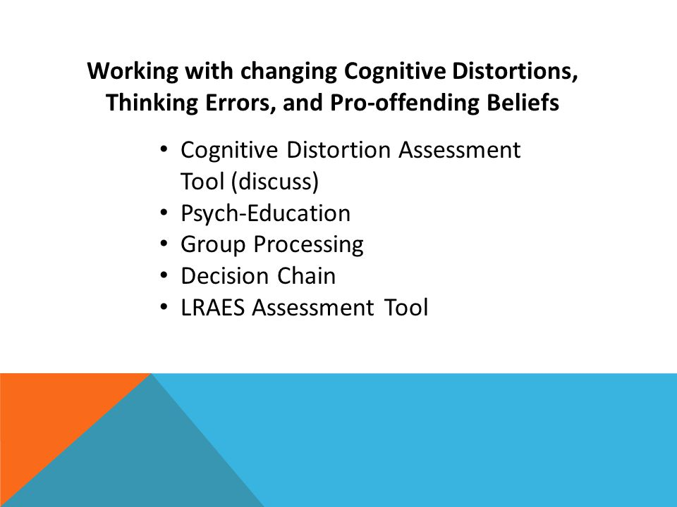 Working with changing Cognitive Distortions, Thinking Errors, and Pro-offending Beliefs Cognitive Distortion Assessment Tool (discuss) Psych-Education