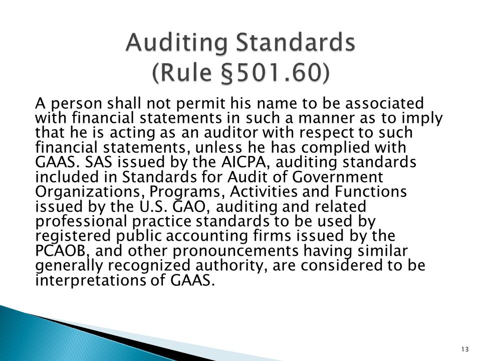 A person shall not permit his name to be associated with financial statements in such a manner as to imply that he is acting as an auditor with respect to such financial statements, unless he has complied with GAAS.